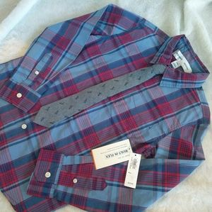 Old Navy| Boys Red/Blue Plaid Button Down|Tie |NWT